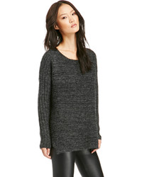 Dailylook Gyllenhaal Ribbed Pullover Sweater In Charcoal Sm Lxl