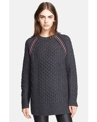 Alexander Wang T By Stripe Raglan Seam Aran Knit Sweater Tunic