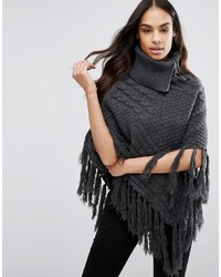 Cable knit poncho with tassel detail medium 6723482