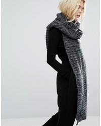 Long knitted scarf in charcoal medium 1210855