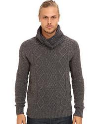 Charcoal Knit Shawl-Neck Sweater