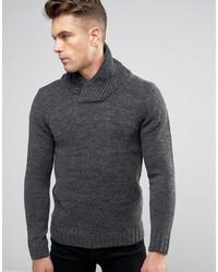 Blend slim shawl knit sweater charcoal medium 849364