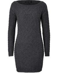 Charcoal Knit Sweater Dress