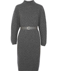 Fendi Chevron Patterned Cashmere Sweater Dress