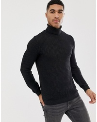 ASOS DESIGN Muscle Fit Cable Roll Neck Jumper In Charcoal