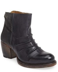 Charcoal Leather Ankle Boots