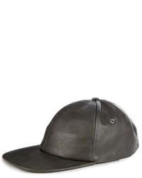Charcoal Leather Baseball Cap