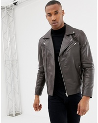ASOS DESIGN Leather Biker Jacket In Brown