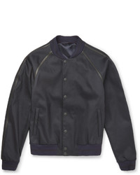 Alexander McQueen Leather Trimmed Stretch Twill Bomber Jacket