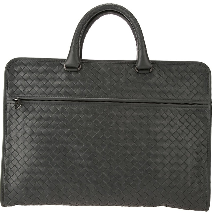 3355cc981db4 Intrecciato Briefcase. Charcoal Leather Briefcase by Bottega Veneta