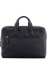Pebbled leather briefcase dark gray medium 28751