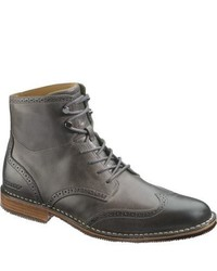 Charcoal Leather Casual Boots