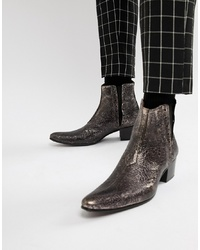 Jeffery West Murphy Cuban Boots In Pewter Cracked Metallic