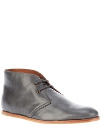 Charcoal Leather Desert Boots