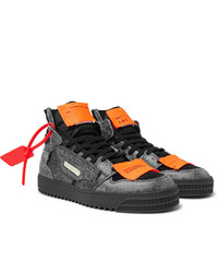Off-White Off Court Textured Leather Suede And Canvas High Top Sneakers