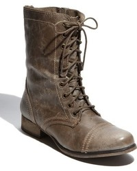 Charcoal Leather Lace-up Flat Boots