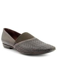 Charcoal Leather Loafers