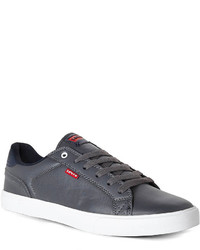 Charcoal Leather Low Top Sneakers