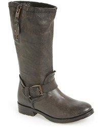 Charcoal Leather Mid-Calf Boots