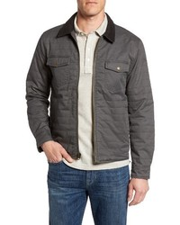 Charcoal Leather Shirt Jacket