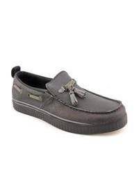 Charcoal Leather Tassel Loafers