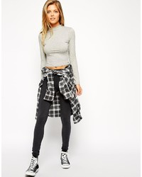 Asos Collection High Waisted Leggings In Charcoal Marl
