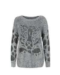 Mela New Look Grey Leopard Contrast Sleeve Fluffy Jumper