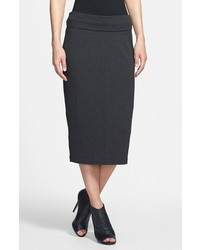 Eileen Fisher Foldover Straight Midi Skirt Charcoal Large