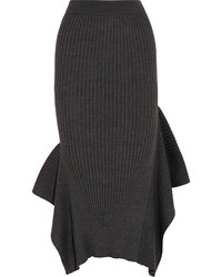 Stella McCartney Ribbed Wool And Silk Blend Midi Skirt
