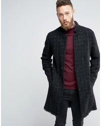 Asos Textured Raw Edge Overcoat In Gray