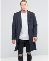 Asos Wool Mix Overcoat In Charcoal Marl