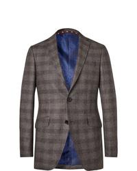 Etro Grey Slim Fit Checked Wool Blazer