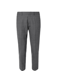 Ami Grey Slim Fit Tapered Cropped Tweed Suit Trousers