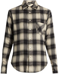 R 13 R13 Checked Cotton Blend Flannel Shirt