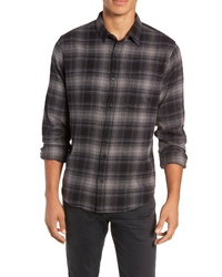 Charcoal Plaid Flannel Long Sleeve Shirt