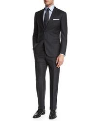 Brioni Plaid Two Piece Suit Charcoal