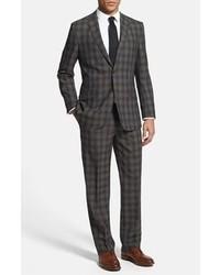 English Laundry Trim Fit Plaid Suit Brown Blue Plaid 38r
