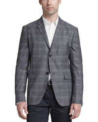 Charcoal Plaid Wool Blazer