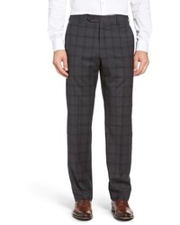Charcoal Plaid Wool Dress Pants