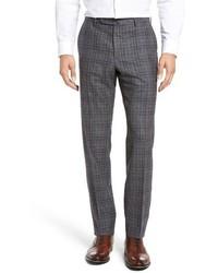 Incotex Benson Flat Front Plaid Wool Cashmere Trousers