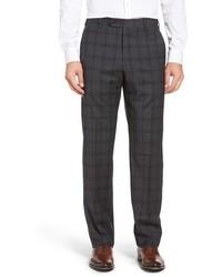 Zanella Flat Front Plaid Wool Trousers