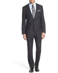 BOSS Hugegenius Trim Fit Plaid Wool Suit