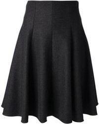 Charcoal Pleated Midi Skirt