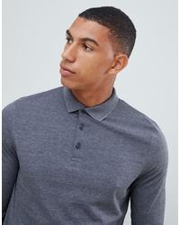 ASOS DESIGN Long Sleeve Jersey Polo In Grey