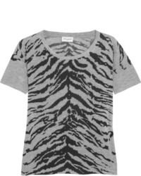 Tiger Print Stretch Jersey T Shirt