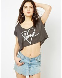 Spray heart wide crop top medium 33790