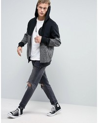 35336dbd3782 ... Converse Zip Up Hoodie In Block Print In Gray 10003605 A01