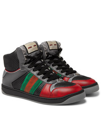 Gucci Screener Webbing Trimmed Distressed Leather High Top Sneakers