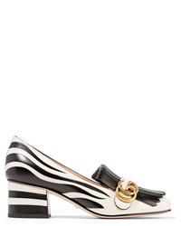 Gucci Two Tone Fringed Leather Pumps Zebra Print