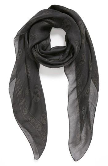 Alexander McQueen Skull Print Silk Chiffon Scarf Grey Black Ivory One Size